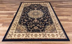 Elica Premium Traditional Navy Blue Area Rug Rug Size: Rectangle 5'3