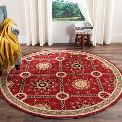 Noham Hand-Hooked Red/Natural Area Rug Rug Size: Rectangle 8' x 10'