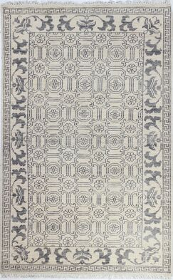 Kurtis Hand-Knotted Ivory Area Rug Rug Size: 5' x 7'6