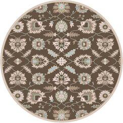 Keefer Hand-Tufted Oriental Dark Brown Area Rug Rug Size: Round 6'