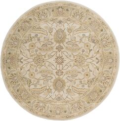 Topaz Taupe Hand-Woven Wool Area Rug Rug Size: Round 6'