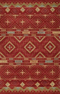 Elvera Hand-Tufted Red Area Rug Rug Size: Rectangle 3'6