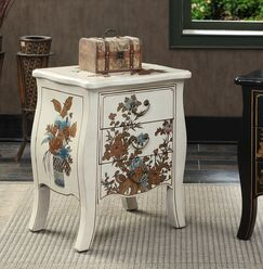 Raiden 3 Drawer End Table Color: White