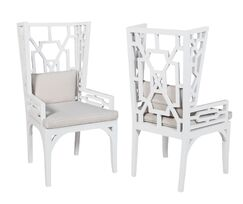 Rondalla Wing Wingback Arm Chair Finish: White Wood Grain