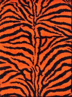 Tham Modern Shag Zebra Orange Area Rug