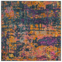 Grieve Blue/Orange Area Rug Rug Size: Square 6'7