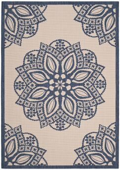Catori Beige/Navy Indoor/Outdoor Area Rug Rug Size: Rectangle 4' x 5'7