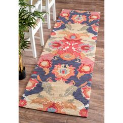 Maastricht Blue/Red Area Rug Rug Size: Runner 2'6