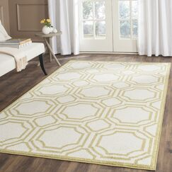 Maritza Ivory/Green Indoor/Outdoor Area Rug Rug Size: Rectangle 8' x 10'