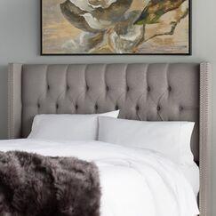 Socorro Upholstered Wingback Headboard Size: Full, Upholstery: Grey