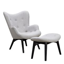 Taya Lounge Chair and Ottoman Finish: Black, Upholstery: Glacier White