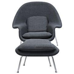Saro Lounge Chair and Ottoman Upholstery: Charcoal Gray