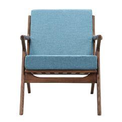 Zain Armchair Upholstery: Dodger Blue, Finish: Walnut
