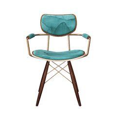 Balsam Upholstered Dining Chair Leg Color: Brass, Frame Color: Walnut