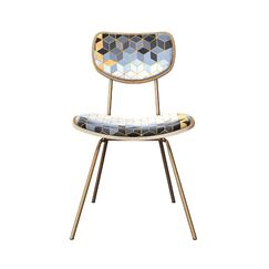 Chandlee Upholstered Dining Chair Leg Color: Brass, Frame Color: Natural