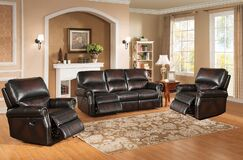 Nevada Reclining 3 Piece Leather Living Room Set