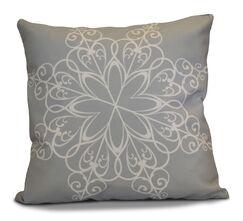 Decorative Snowflake Print Outdoor Throw Pillow Size: 16