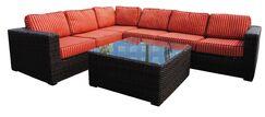 Santa Monica 5 piece Sunbrella Sectional Set with Cushions Fabric: Henna Dupoine