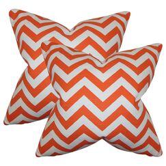 Sullivan Street Chevron Cotton Throw Pillow Color: Orange
