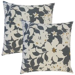Strawbridge Floral Cotton Throw Pillow Color: Charcoal