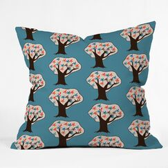 Vintage Trees Throw Pillow Size: 18