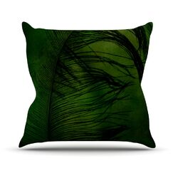 Feather by Robin Dickinson Outdoor Throw Pillow