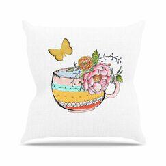 Tea Cup Vase Jennifer Rizzo Throw Pillow Size: 20