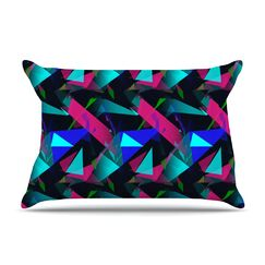 Confetti Triangles Dark Magenta by Alison Coxon Cotton Pillow Sham