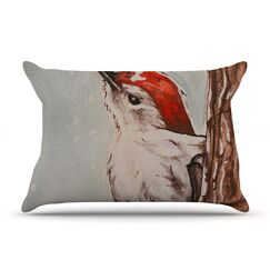 Downy Woodpecker by Brittany Guarino Cotton Pillow Sham