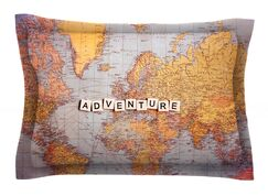 Adventure Map by Sylvia Cook World Featherweight Pillow Sham