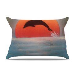Dolphin Sunset by Infinite Spray Art Blue Featherweight Pillow Sham