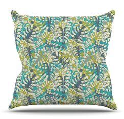 Tropical Leaves by Julia Grifol Outdoor Throw Pillow
