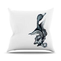 Swan Horns Outdoor Throw Pillow