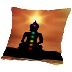 Buddha Sunset Throw Pillow Size: 18