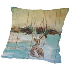 Resting Stag Cotton Throw Pillow Size: 18