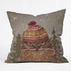 Christmas Owl Indoor/Outdoor Throw Pillow