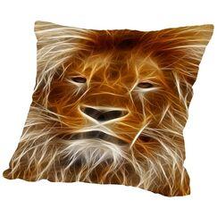 Lion Cat Animal Throw Pillow Size: 14