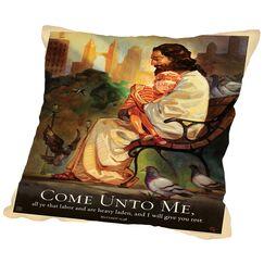 Jesus Come Unto Me Throw Pillow Size: 18