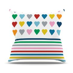 Heart Stripes by Project M Outdoor Throw Pillow Color: Multi