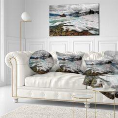 Landscape Frozen Mountain Lake Shore Throw Pillow Size: 16
