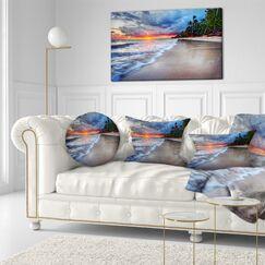 Seashore Fluffy Dark Clouds over Ocean Lumbar Pillow