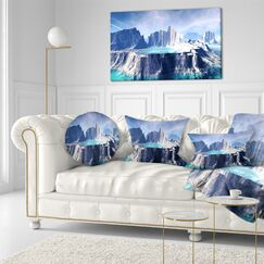 Landscape Printed 3D Rendered Fantasy Alien Planet Throw Pillow Size: 16