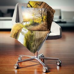 Landscape Beautiful Road by the River Pillow Size: 18