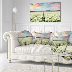 Landscape Printed Morning in Tulip Farm Near Espel Village Throw Pillow Size: 16
