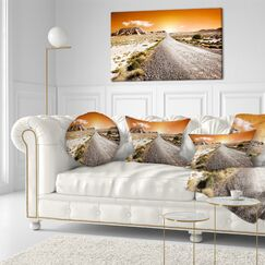 Landscape Sunset Desert with Pebble Road Throw Pillow Size: 20