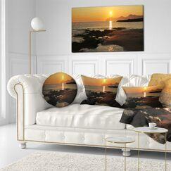 Landscape Printed Dawn on Majorca Panorama Lumbar Pillow