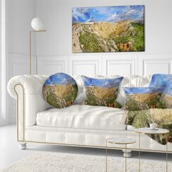 Landscape Canyon on Slopes of Plateau Ustyurt Throw Pillow Size: 20