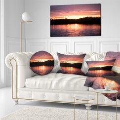 Landscape Sunset on Tropical Lagoon Throw Pillow Size: 16