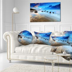 Cloudy Sky over Moeraki Boulders Seashore Photo Throw Pillow Size: 16