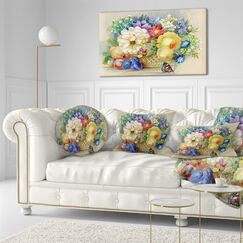 Bunch of Flowers and Fruits Floral Throw Pillow Size: 16
